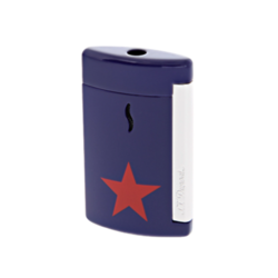 Closeup photo of S.T. Dupont Minijet Star Lighter, Chrome, Blue, 010530 - Platinum 1911