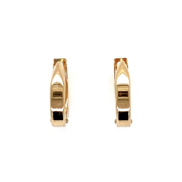 "Closeup photo of 14K YG Polished Huggie Hoop Earrings 0.85g, 0.5"" Tall"