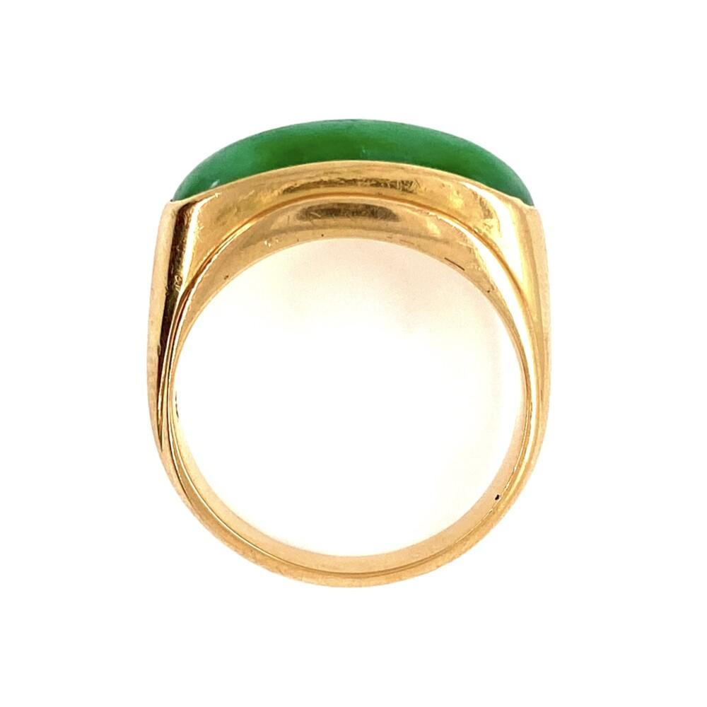 18K YG Jadeite Jade Bar Ring 7.8g, s8.25