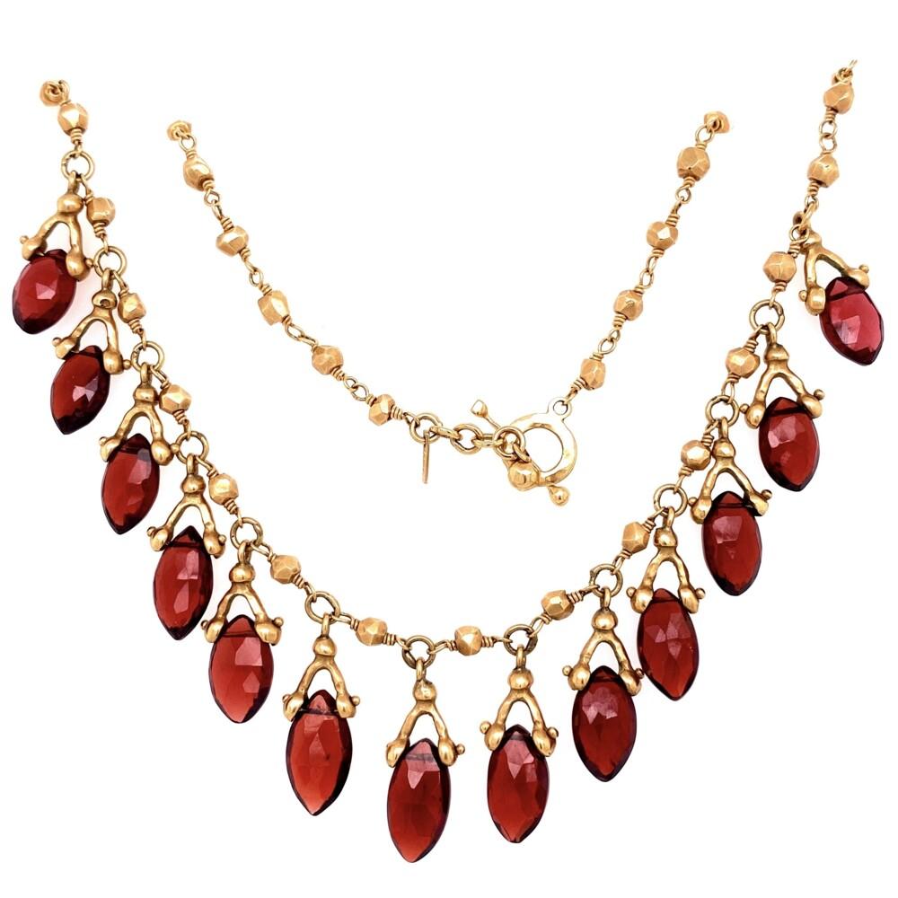 "Image 2 for 14K YG Talisman Hammered Necklace with Garnet Drops 25.3g, 16"""