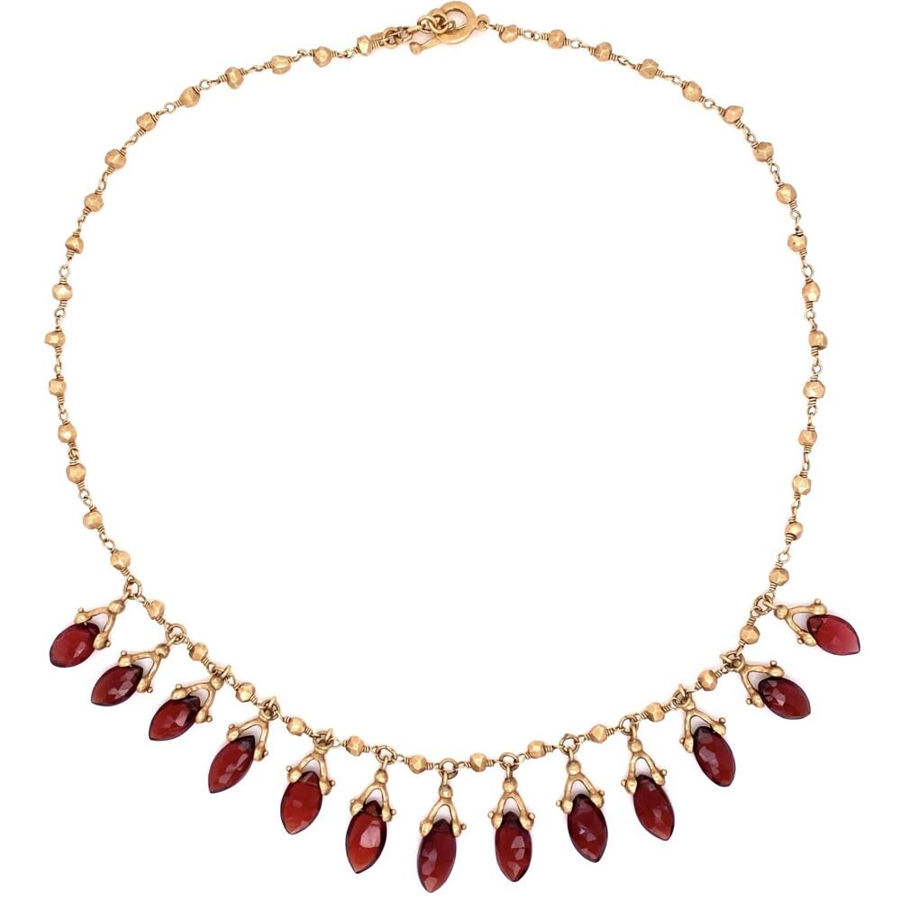 "14K YG Talisman Hammered Necklace with Garnet Drops 25.3g, 16"""