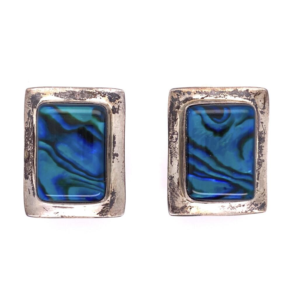 925 Sterling Square Abalone Clip Earrings 13.3g