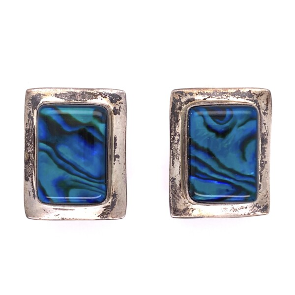 Closeup photo of 925 Sterling Square Abalone Clip Earrings 13.3g