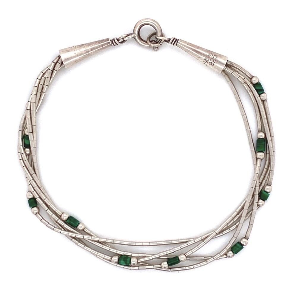 925 Sterling Liquid Silver & Malachite Bracelet 3.9g, 7""