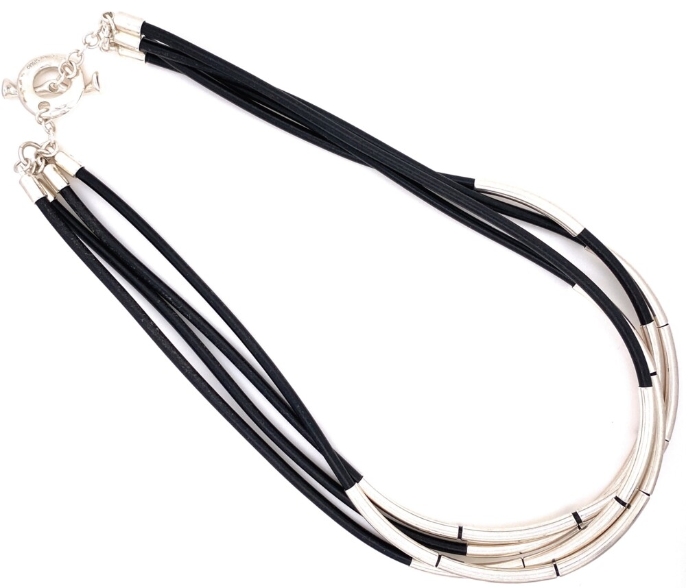 """925 Sterling & Black Leather 4 Cord Necklace 45.6g, 17.5"""""""