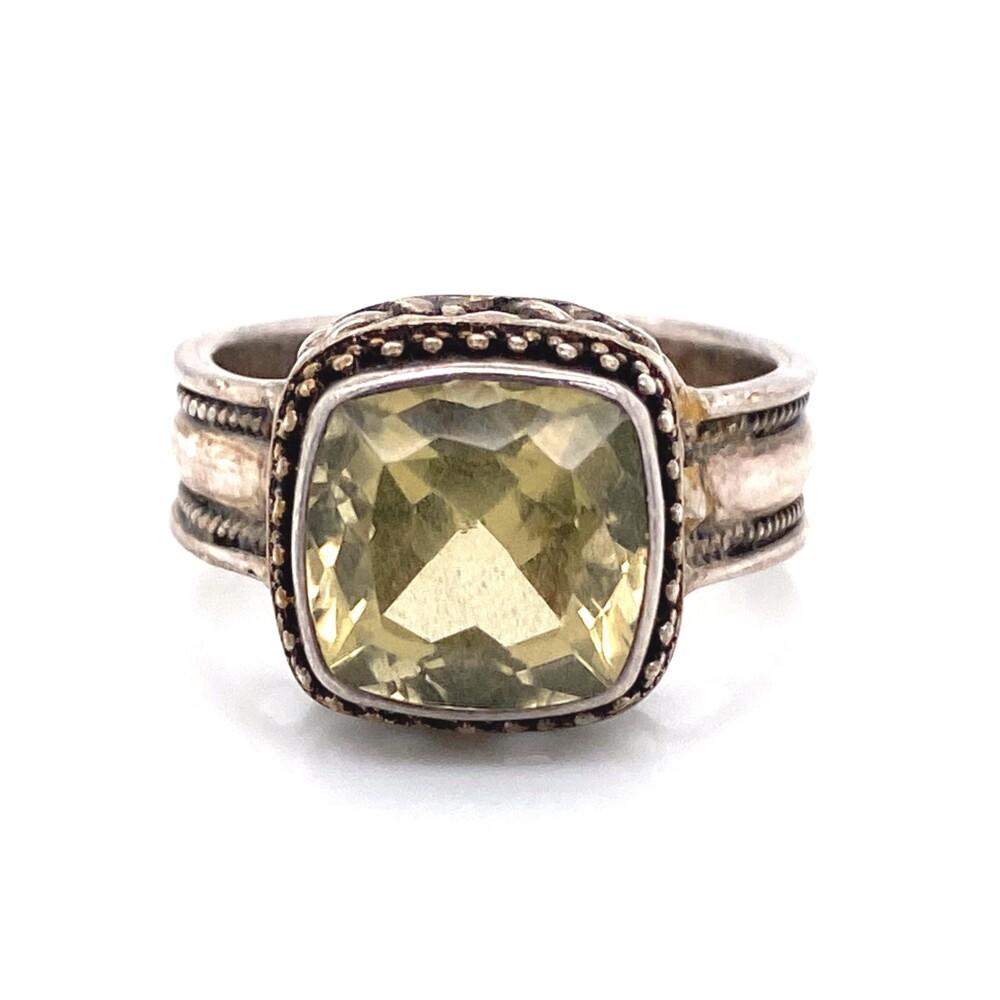 925 Sterling Square Citrine Milgrain Ring 7.7g, s9