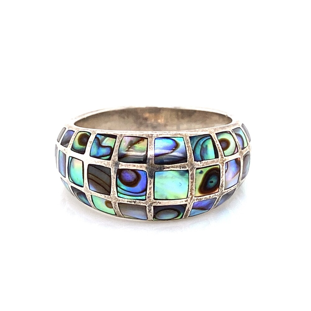 925 Sterling Mother Pearl Mosaic Inlay Ring 6.2g, s8