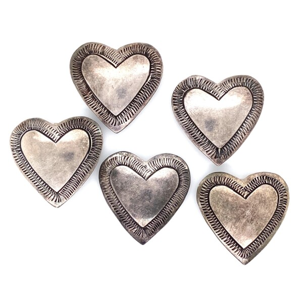 Closeup photo of 925 Sterling Native 5 Heart Shape Button Covers 26.4g