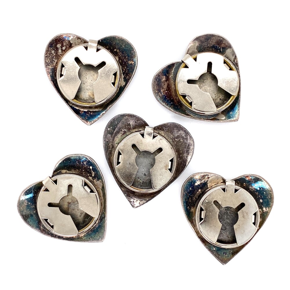 925 Sterling Native 5 Heart Shape Button Covers 26.4g