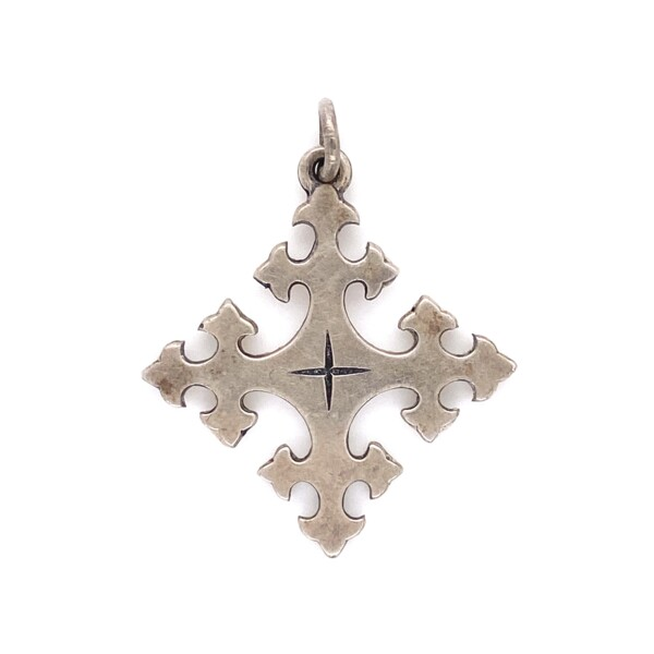 Closeup photo of 925 Sterling James Avery Square Cross Charm 2.7g