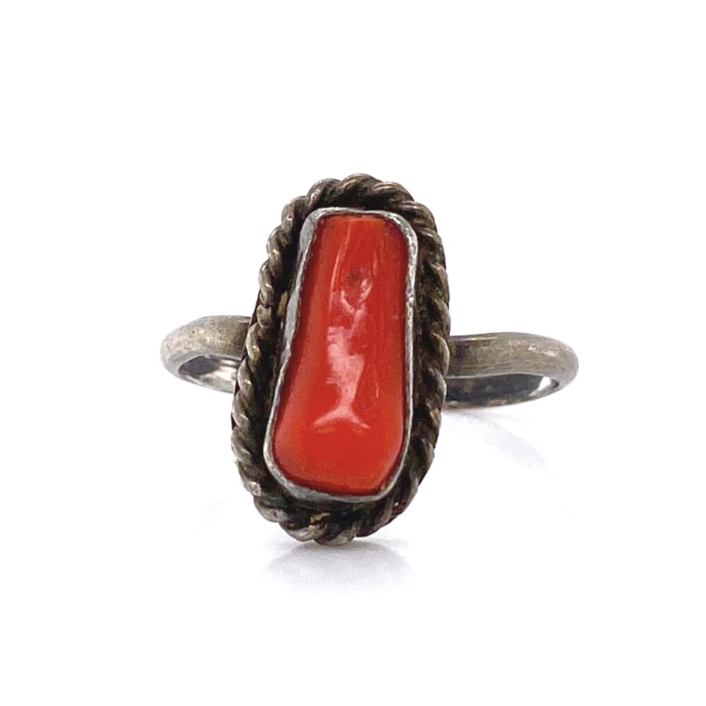 925 Sterling Native Tiny Coral Ring 1.5g, s4.5