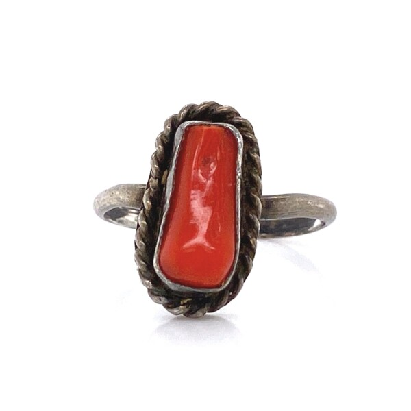 Closeup photo of 925 Sterling Native Tiny Coral Ring 1.5g, s4.5