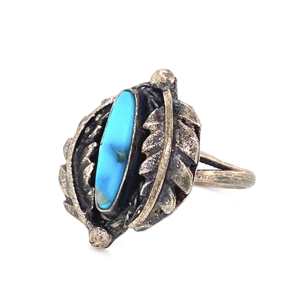 925 Sterling Native Old Pawn Turquoise Ring 3.6g, s6.5