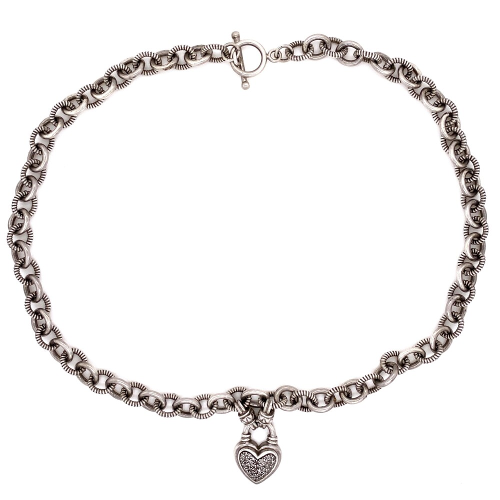 """925 Sterling .30tcw Diamond Heart Link Necklace 47.6g,  18"""""""