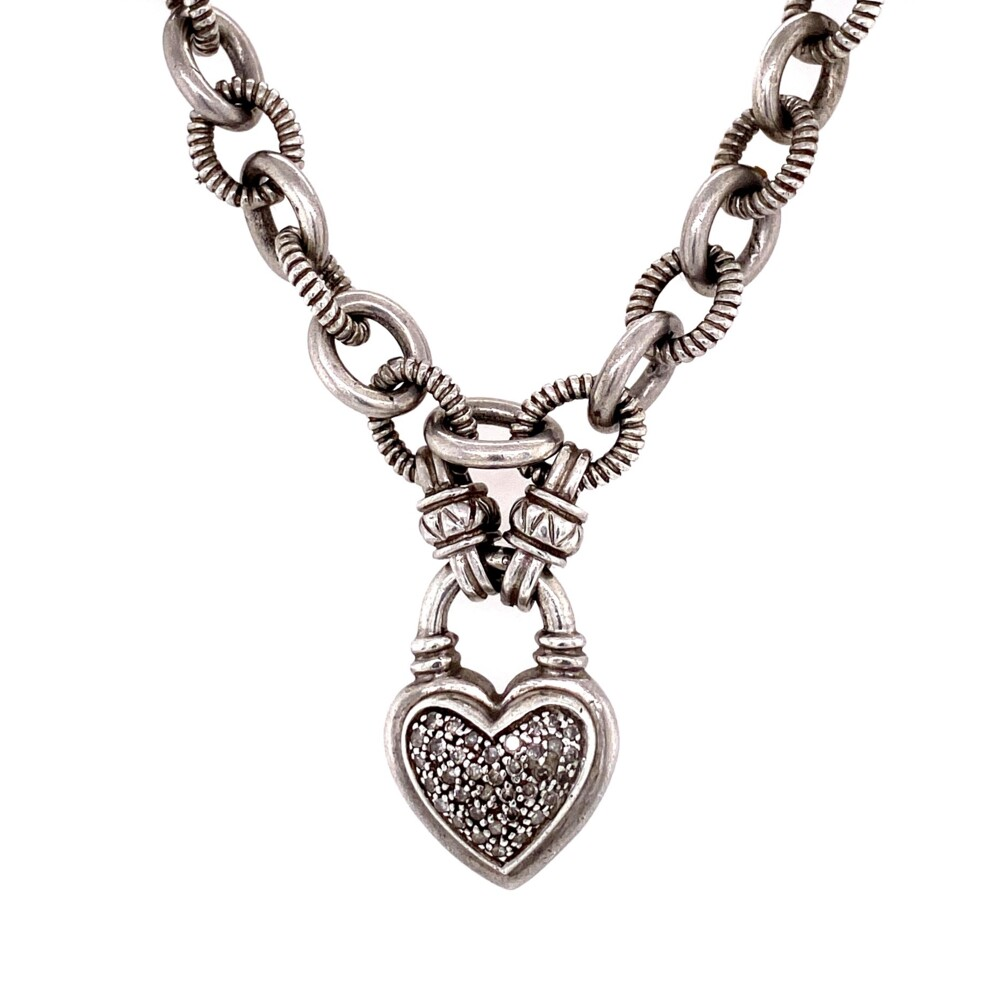 925 Sterling .30tcw Diamond Heart Link Necklace 47.6g,  18""