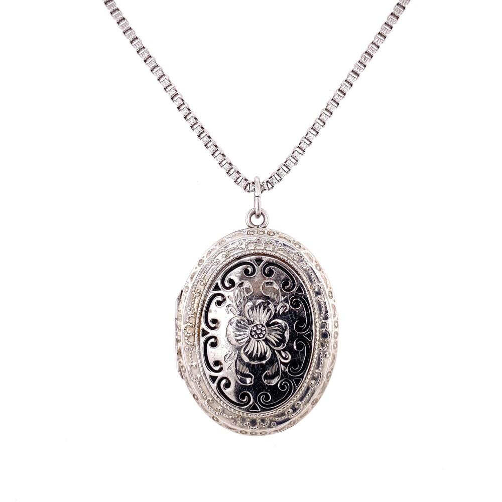 "925 Sterling Enamel & Engraved Locket 21.3g, 21"""