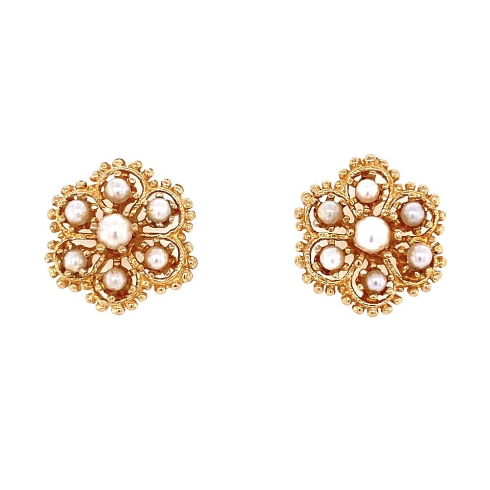 14K YG Victorian Revival Cluster Seed Pearl Earrings 4.2g