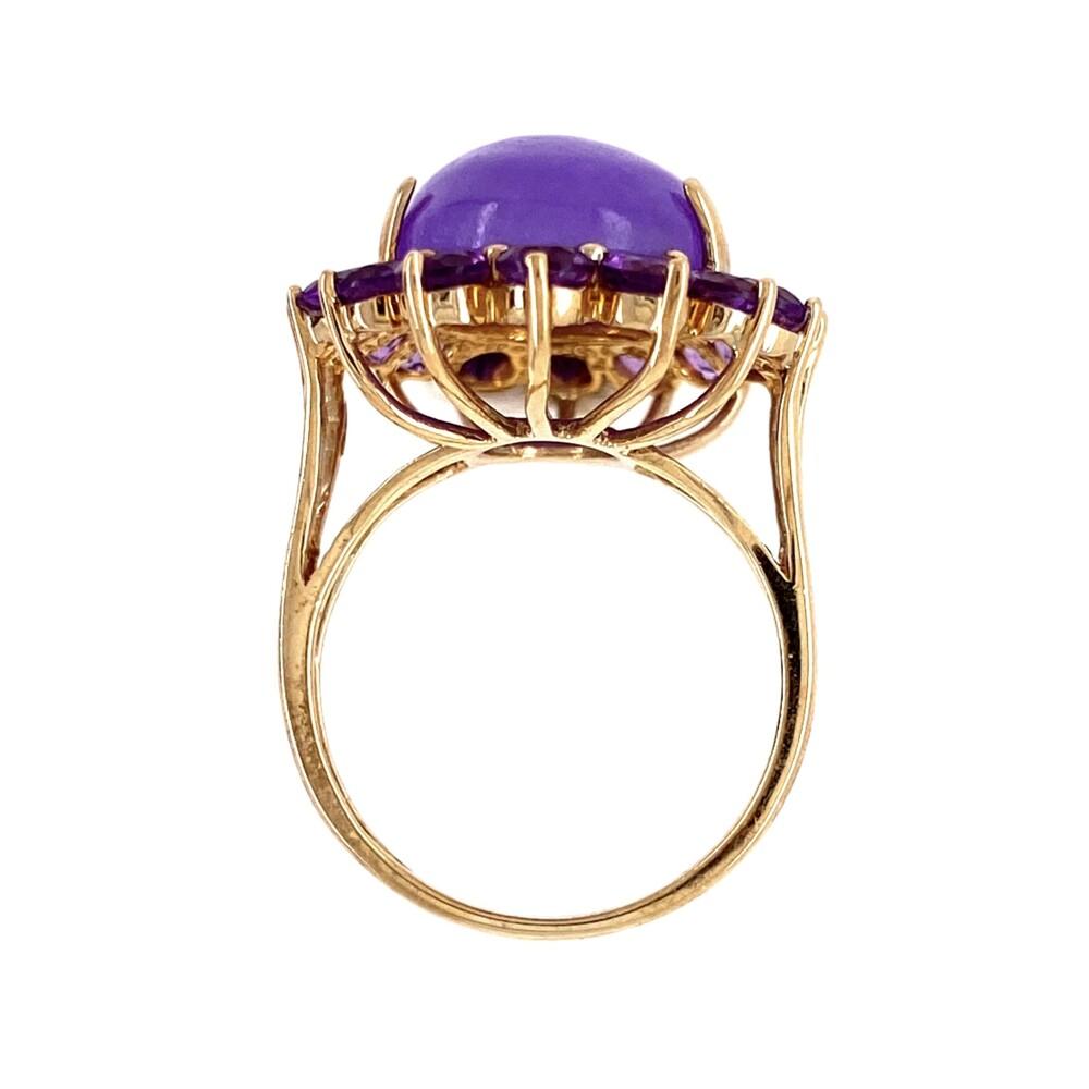 10K YG Lavender Jade & Amethyst Ring 5.1g, s5.25