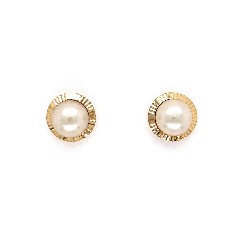 14K YG 7mm Pearl Fluted Bezel Stud Earrings 2.1g