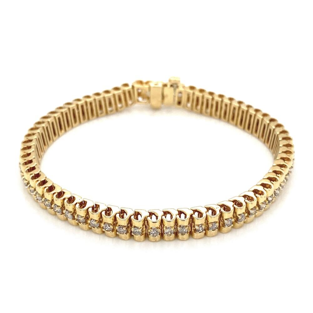 """14K YG 1.55tcw Diamond Tennis Line Bracelet 24.8g, 7"""""""