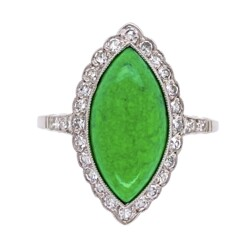 Closeup photo of Platinum 4ct Navette Green Turquoise & .42tcw Diamond Ring, s7.75
