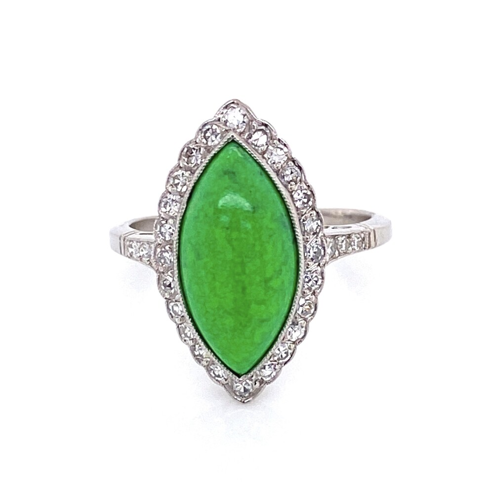 Image 2 for Platinum 4ct Navette Green Turquoise & .42tcw Diamond Ring, s7.75