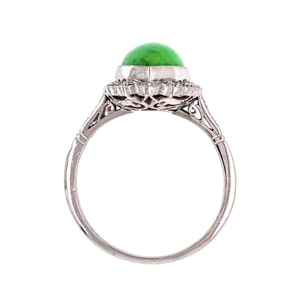 Platinum 4ct Navette Green Turquoise & .42tcw Diamond Ring, s7.75