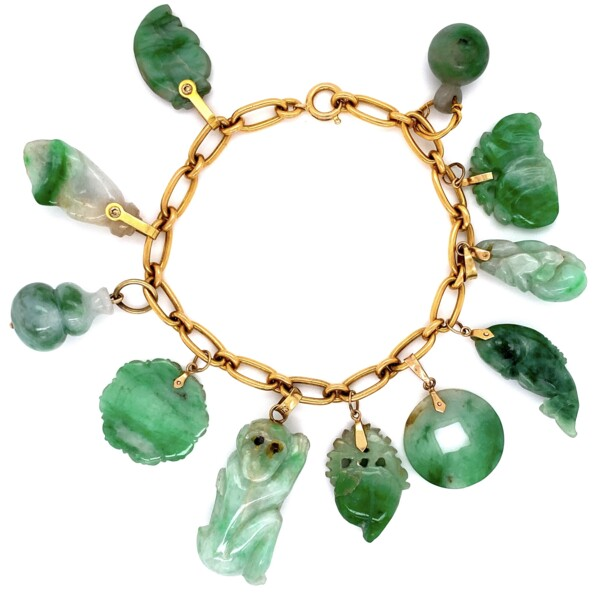 "Closeup photo of 24K & 14K YG Carved A Jadeite Jade Charm Bracelet 40.5g, 6.75"" with Lab Report"