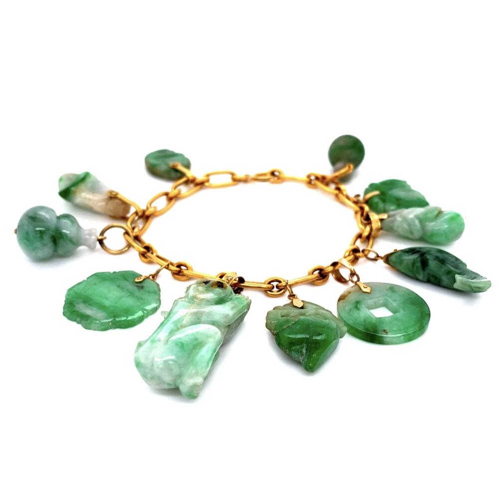 """Image 2 for 24K & 14K YG Carved A Jadeite Jade Charm Bracelet 40.5g, 6.75"""" with Lab Report"""