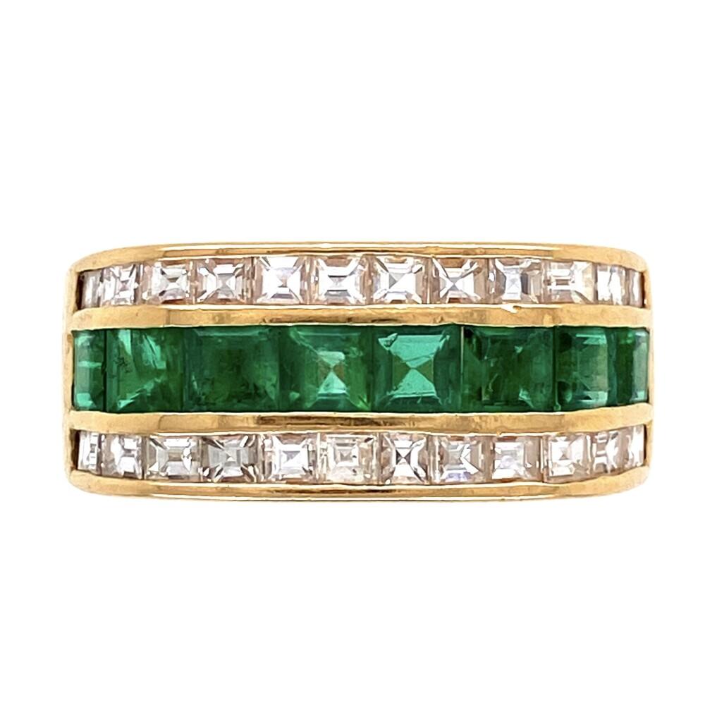 18K YG Muzo Emerald & Asscher Diamond Band Ring 7.1g, s8