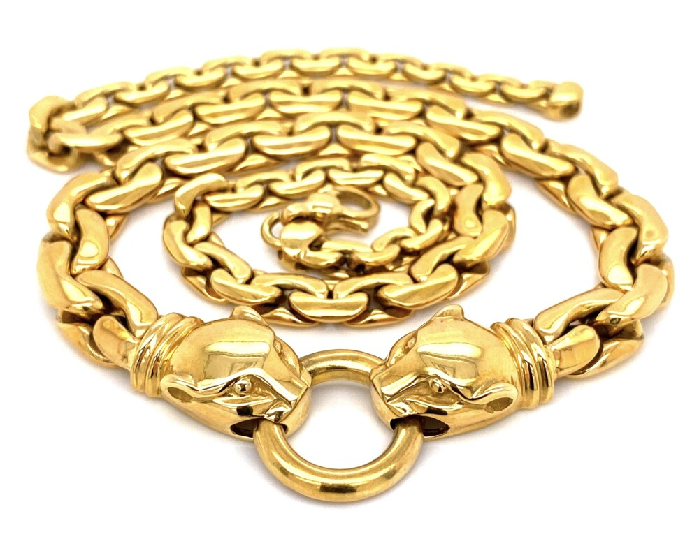 """18K YG Link Necklace with Panther Heads 43.7g, 18"""""""