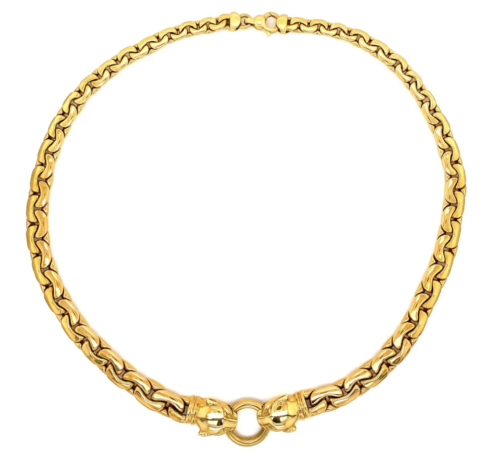 """Image 2 for 18K YG Link Necklace with Panther Heads 43.7g, 18"""""""