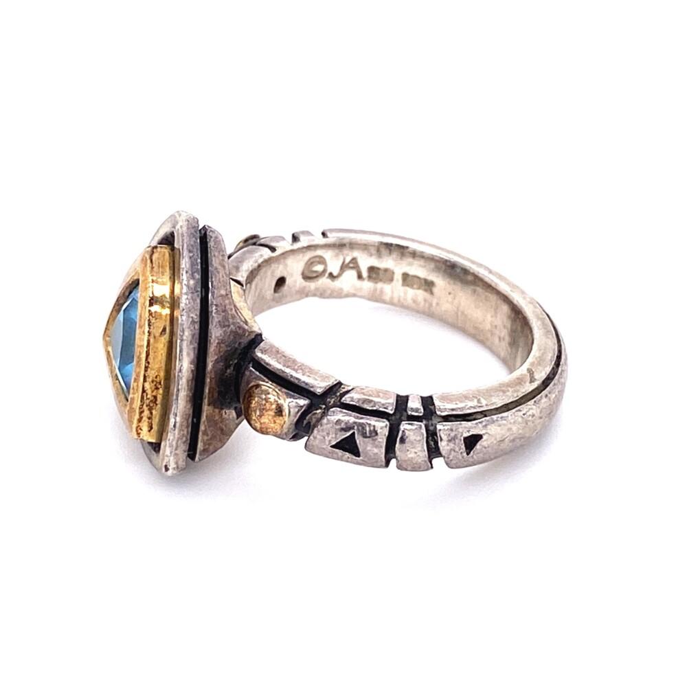 Image 2 for 925 & 18K John Atencio Blue Topaz Trillion Ring 10.3g, s6.5