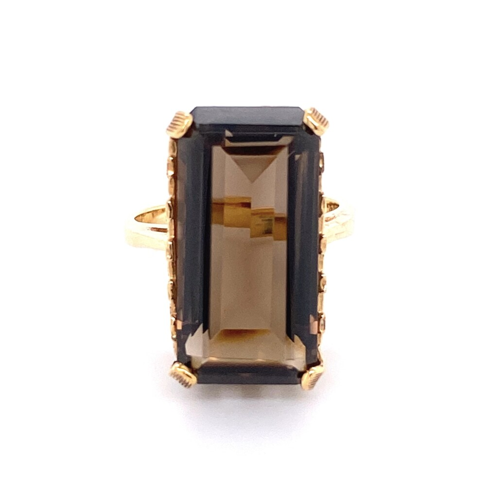 14K YG 7ct Emerald Cut Smokey Quartz Ring 6.1g, s5.5