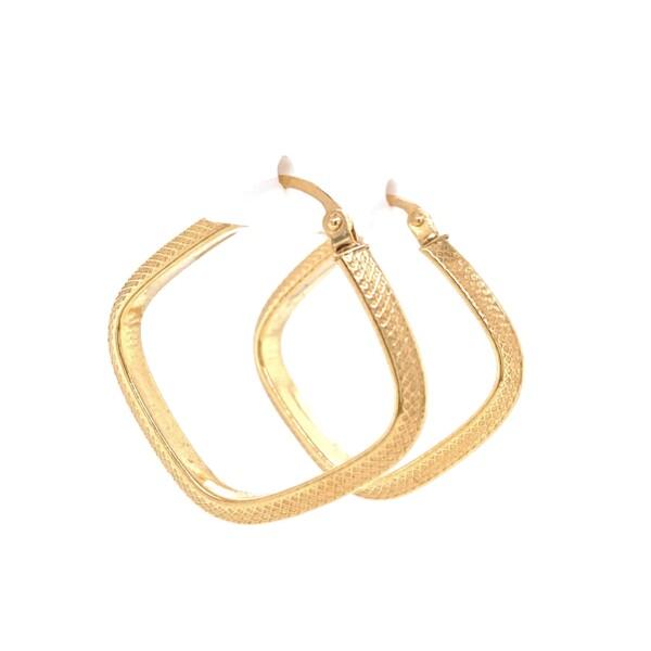 Closeup photo of 14K YG Square Engraved Hoop Earrings 2.1g