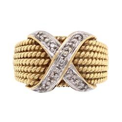 Closeup photo of 14K YG Rope Ring with .05tcw Diamond X 6.1g