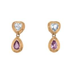 Closeup photo of 14K YG Blue Topaz Heart & Pear Amethyst Drop Earrings 2.8g