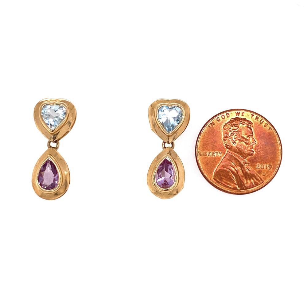 Image 2 for 14K YG Blue Topaz Heart & Pear Amethyst Drop Earrings 2.8g
