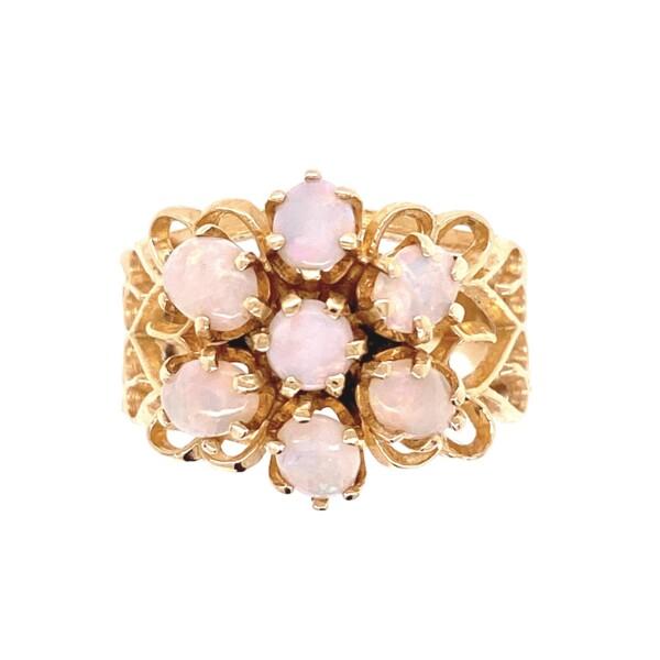 Closeup photo of 14K YG 1970's 7 Opal Cluster Ring 5.0g, s5.5