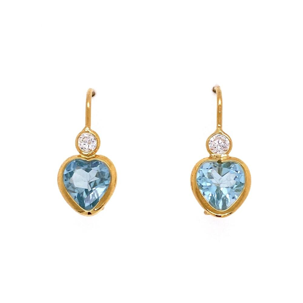 14K YG Blue Heart Stone & CZ Earrings 2.6g