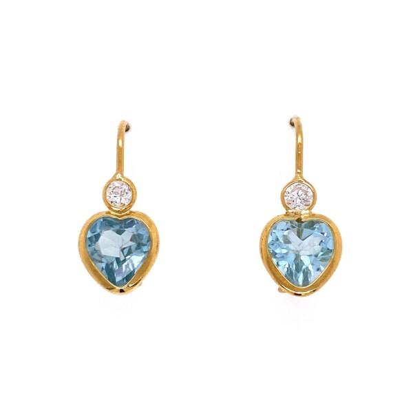 Closeup photo of 14K YG Blue Heart Stone & CZ Earrings 2.6g