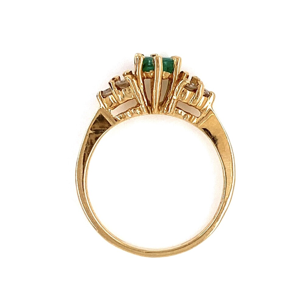 14K YG .25ct Emerald & .09tcw Diamond Ring 1.6g, s3