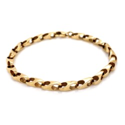"Closeup photo of 14K YG 1970's Modern Link Bracelet 10.6g, 7"""