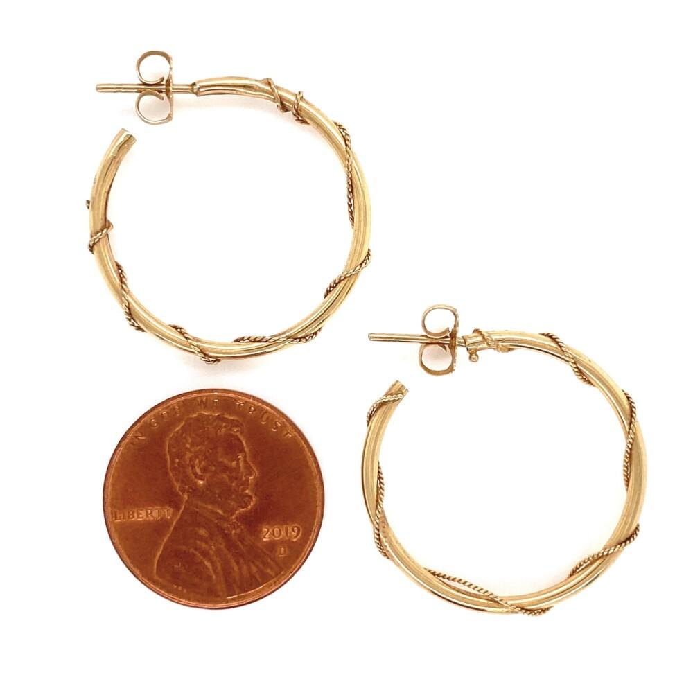 "14K YG Post & Friction Rope Swirl Hoop Earrings 1.5g, 1"""