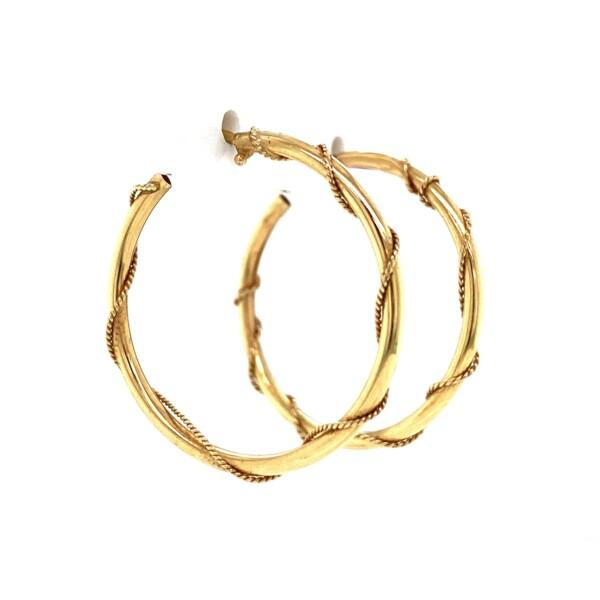 "Closeup photo of 14K YG Post & Friction Rope Swirl Hoop Earrings 1.5g, 1"""