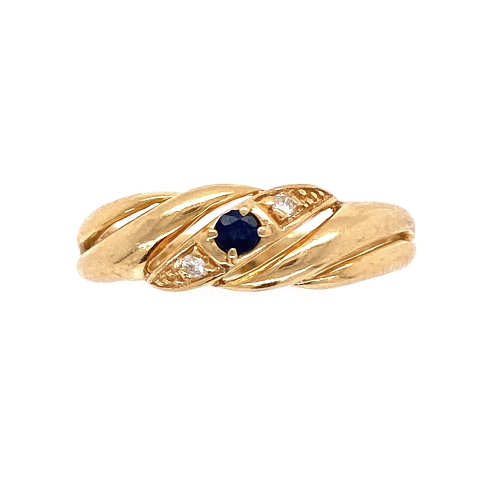 14K YG 1970's .06ct Sapphire & .02tcw Diamond Band Ring 2.8g, s7