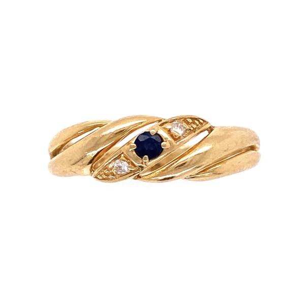Closeup photo of 14K YG 1970's .06ct Sapphire & .02tcw Diamond Band Ring 2.8g, s7
