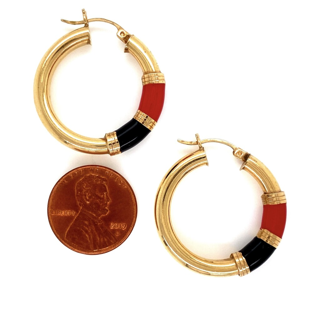 14K YG Black & Red Enamel Hoop Earrings 4.8g, 1.25""