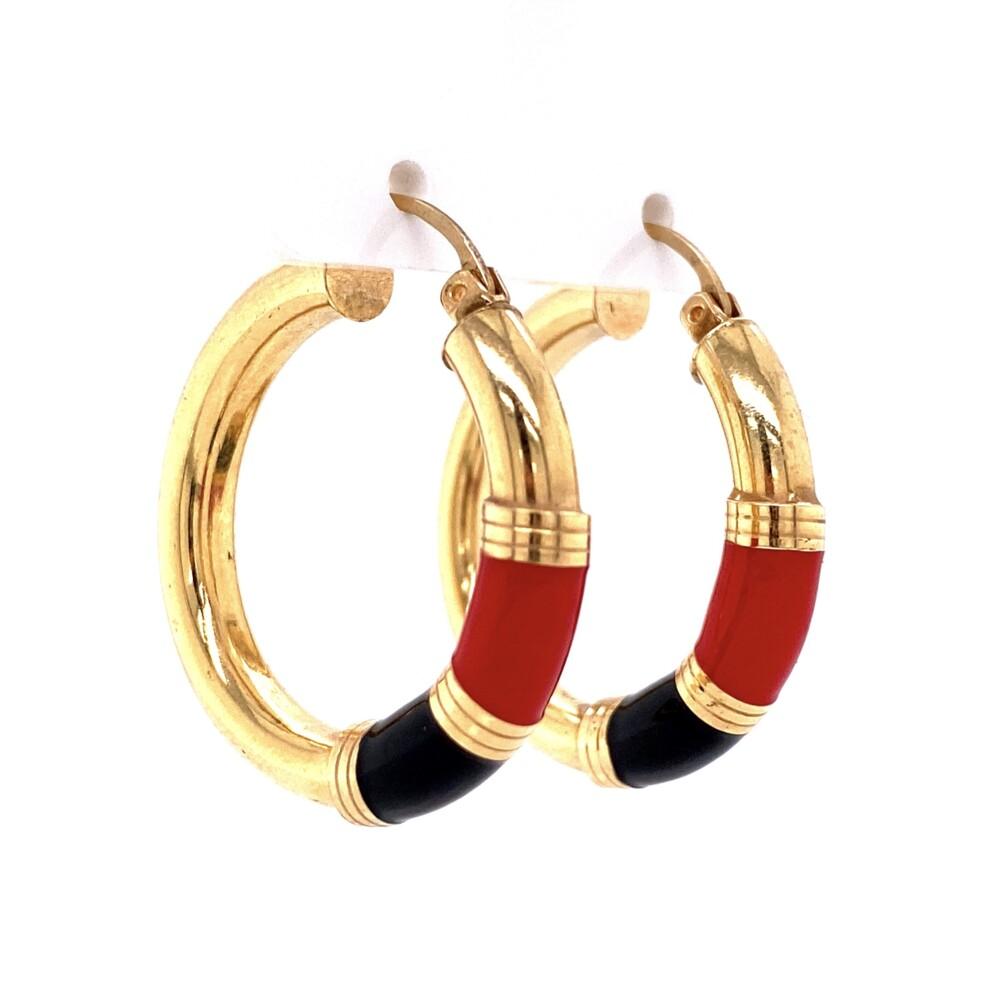 """14K YG Black & Red Enamel Hoop Earrings 4.8g, 1.25"""""""