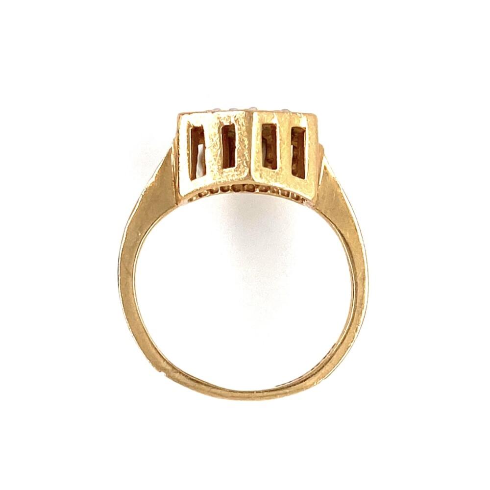 14K YG .07tcw Diamond Hexagon Ring 2.8g, s3.25